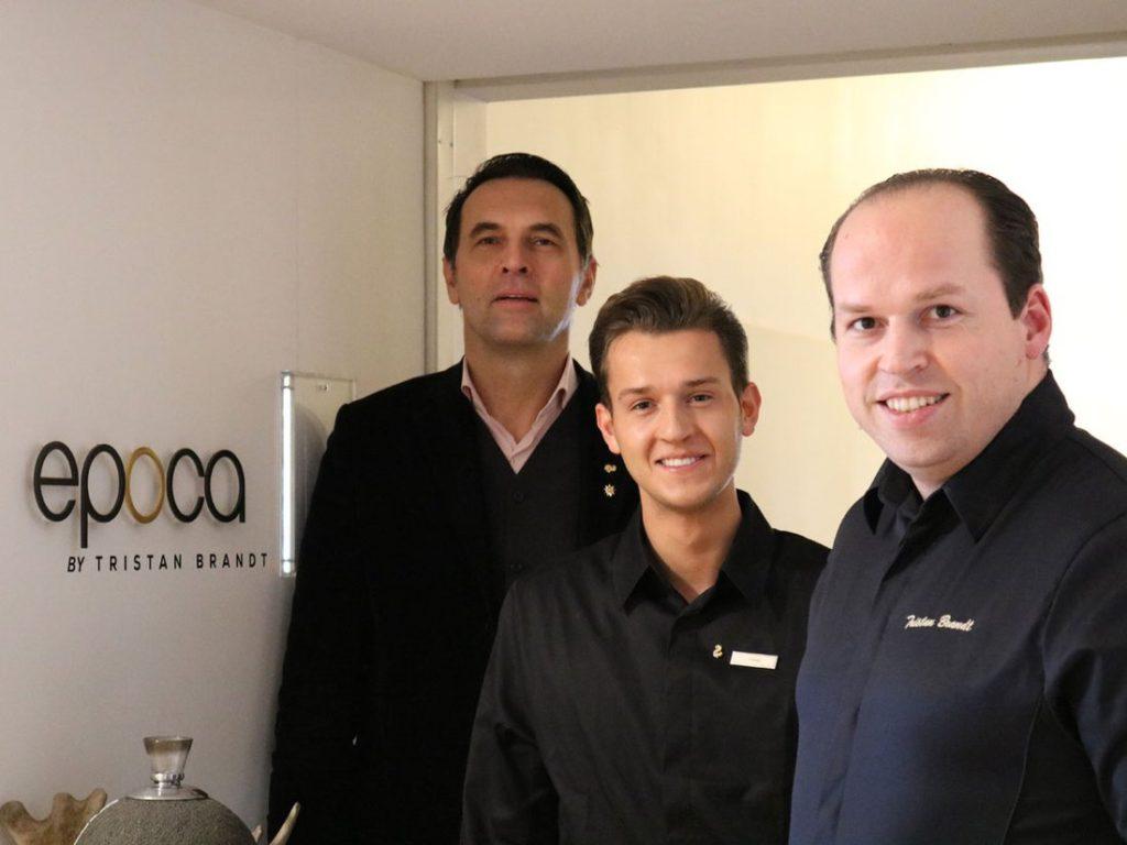 Burkhard Wolter, Geschäftsführer und Hotel Direktor Waldhaus Flims, EPOCA Küchenchef Niklas Oberhofer und Patron und Namensgeber Tristan Brandt